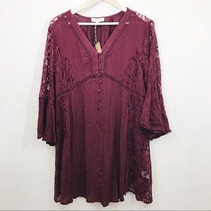 NWT Umgee Burgandy Lace Tunic Dress